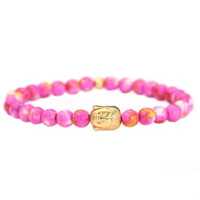 Bracelet Bouddha or rose pierre