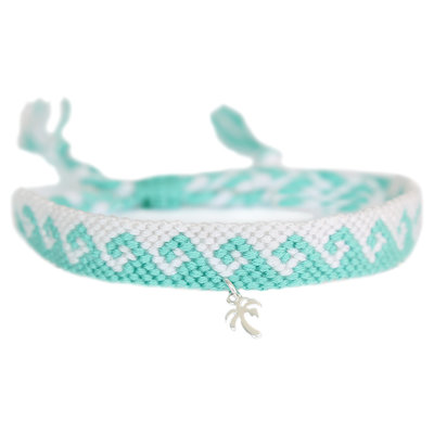 Anklet coton waves turquoise silver palm