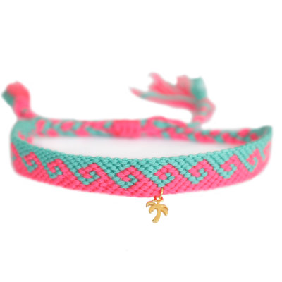 Anklet coton waves pink turquoise gold palm