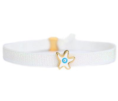 Anklet white star turquoise eye