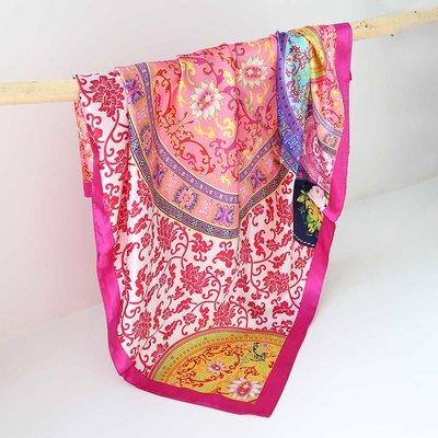Foulard bandana en satin baroque pink