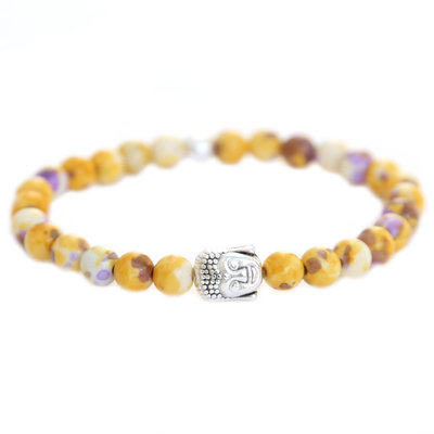 Bracelet Bouddha yellow purple splash