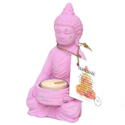 Bougeoir bouddha rose