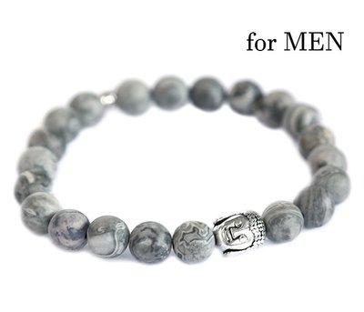 Bracelet bouddha pierre précieuse grise pour homme
