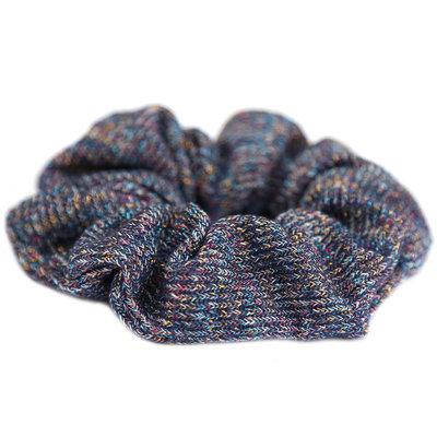 Chouchou knitted bleu glitter