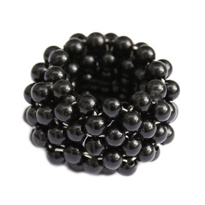 Elastique cheveux perle noire