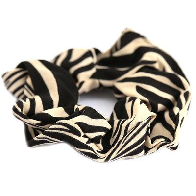 Chouchou zebra beige black