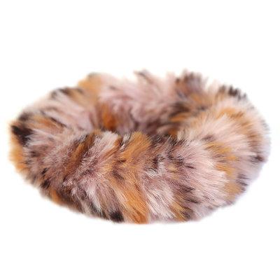 Chouchou faux fur rose léopard