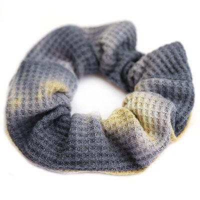 Chouchou waffle tie dye grey yellow