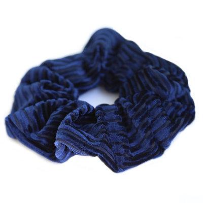 Chouchou velours côtelé bleu