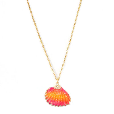 Collier shell pink orange
