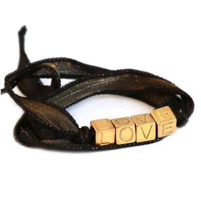 Love wrap black gold shimmer