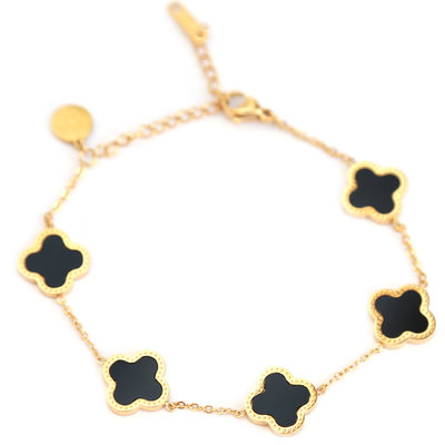 Bracelet lucky clover noir