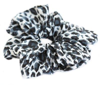 Chouchou en coton léopard gris