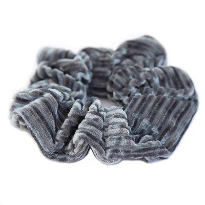 Chouchou velours côtelé gris/bleu