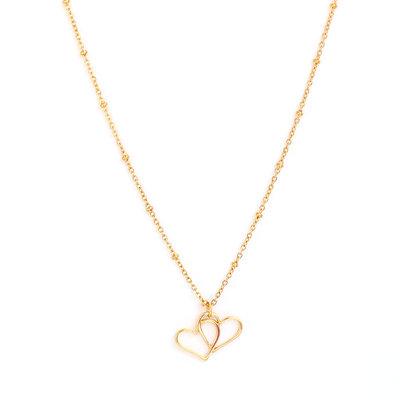 Collier en or double coeur
