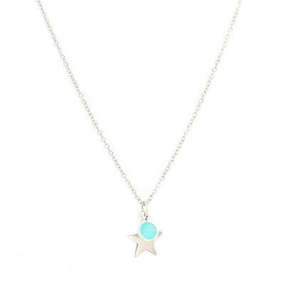 Collier star blue argent