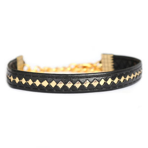 Bracelet leather black gold